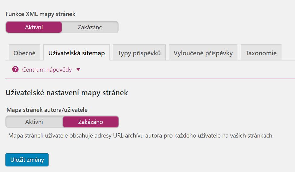 XML Sitemap - Uživatelská sitemap
