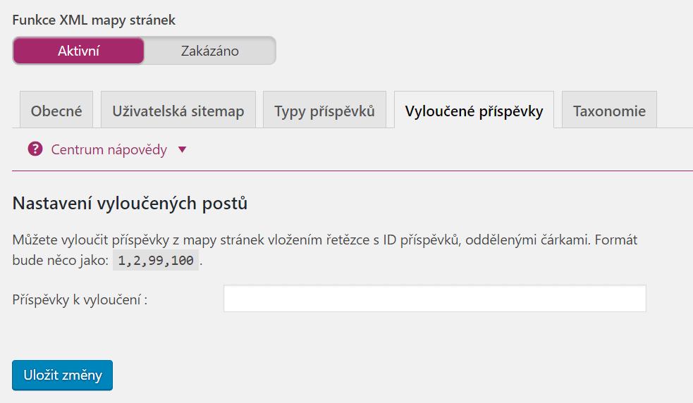 XML Sitemap - Vyloučené příspěvky