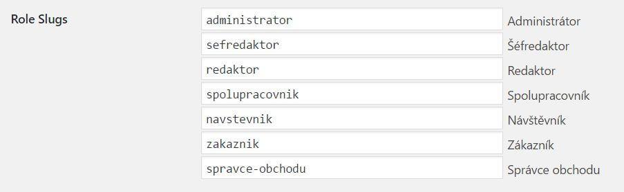 Základ URL podle uživatelské role