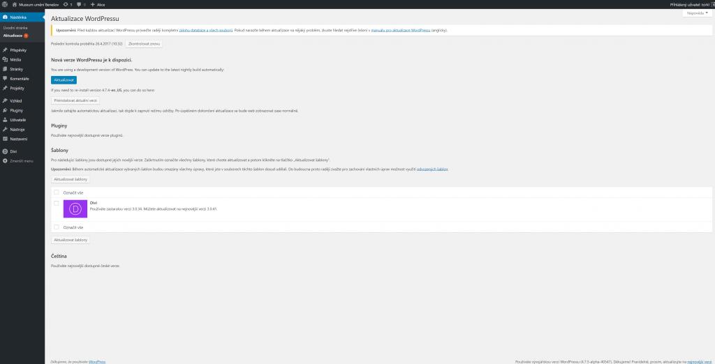 Aktualizace WordPress