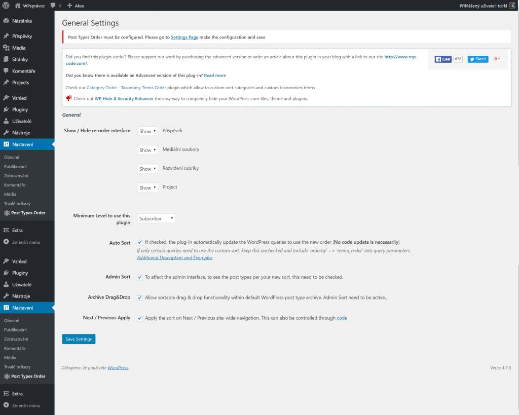 Post Types Order nastavení