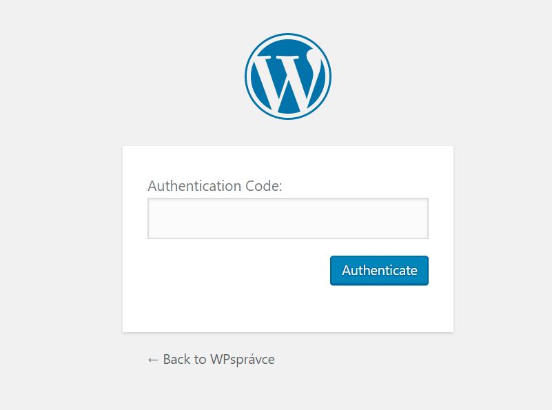 Authentication Code při přihlášení