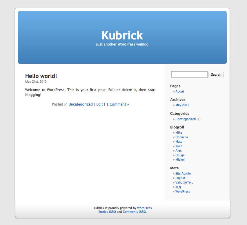 Kubrick šablona, výchozí WordPress šablona do roku 2010