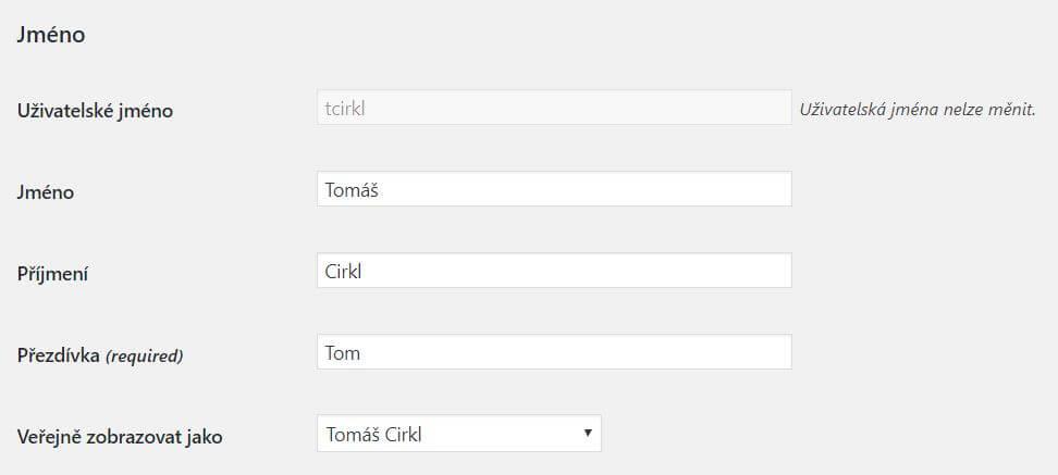 Úprava jména uživatele