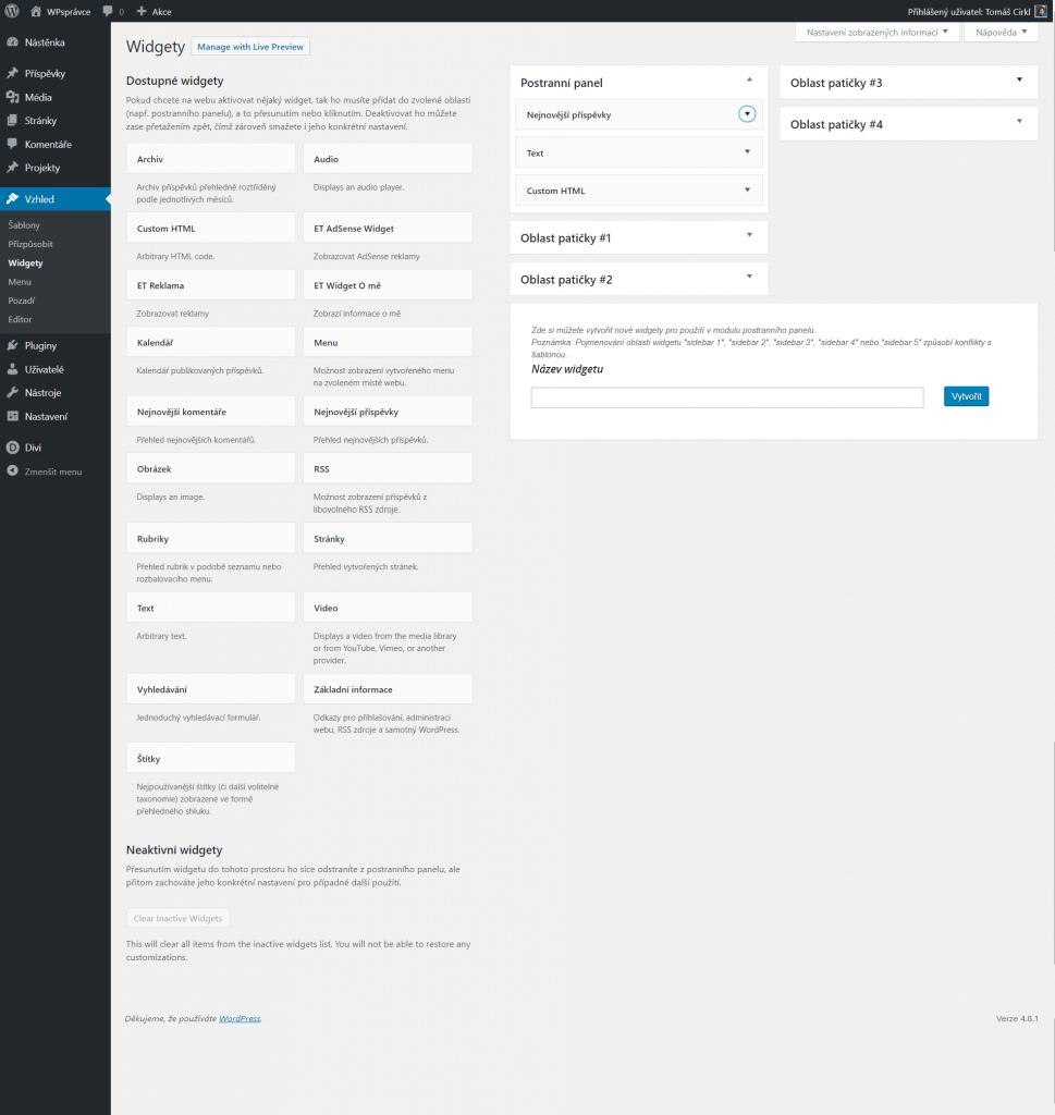 Widgety ve WordPress