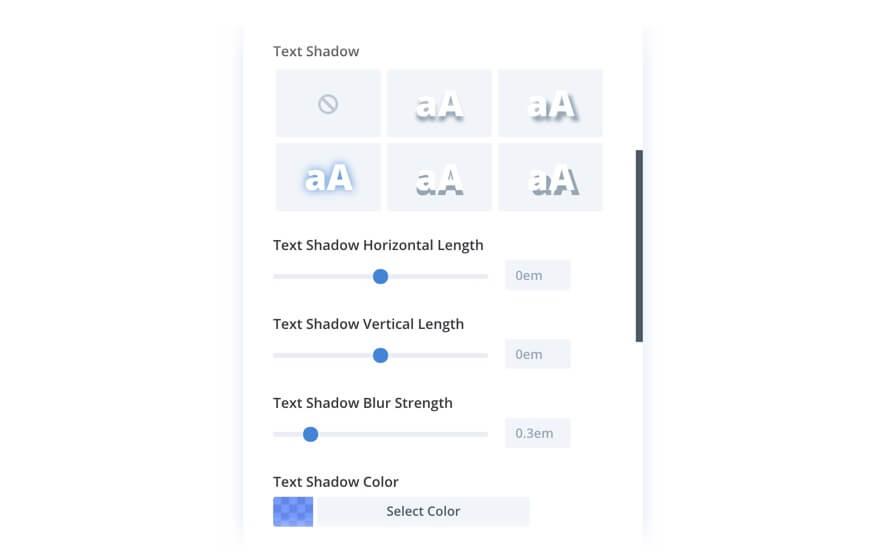 Nastavení stínů pro text