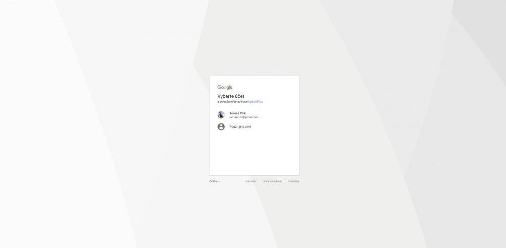 Výběr účtu pro Google Drive