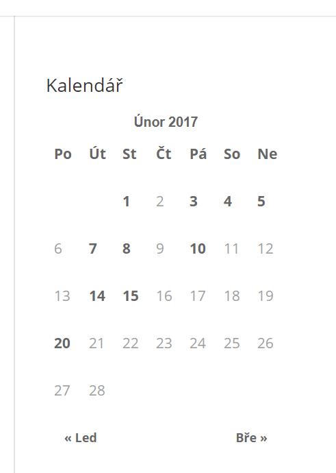 Kalednář widget