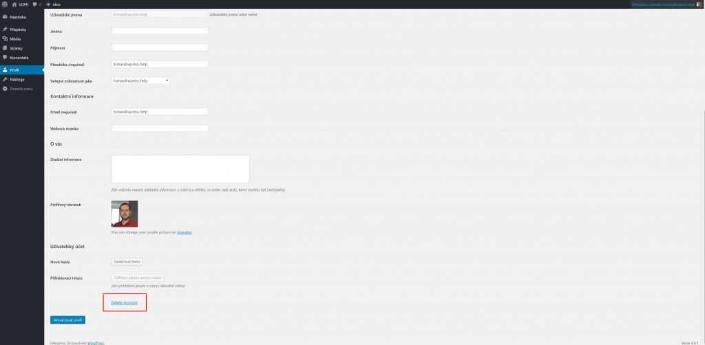 Odkaz pro smazání uživatele v nastavení profilu