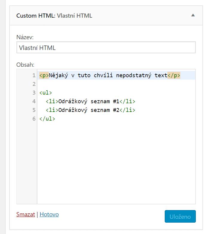 Vlastní HTML widget