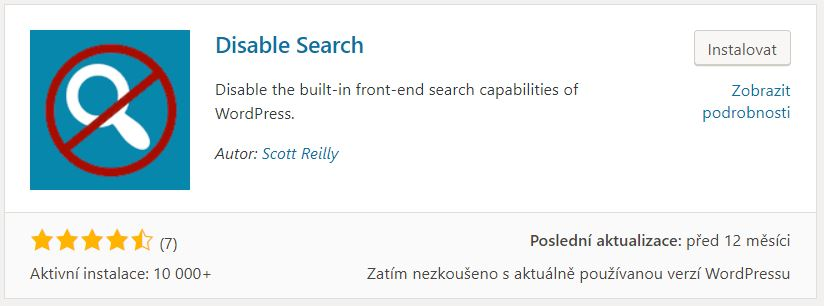 Disable Search plugin