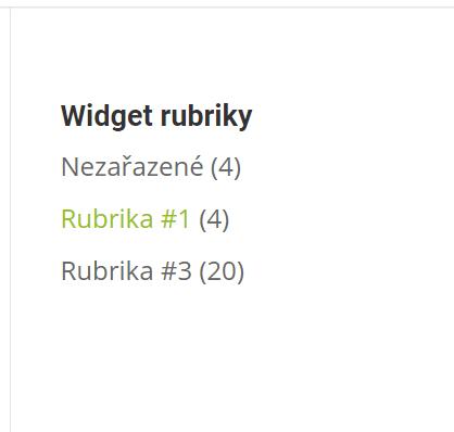 Základní zobrazení widgetu Rubriky