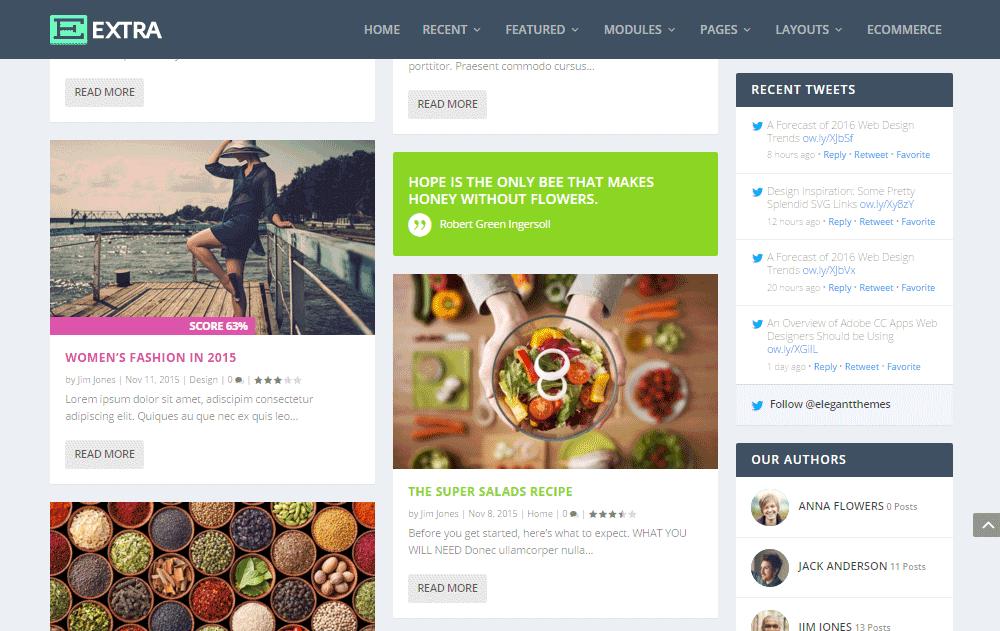 Extra WordPress šablona- rozvržení blogu