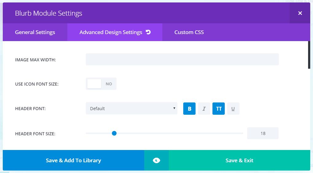 Extra WordPress šablona - nastavení modulů Builderu