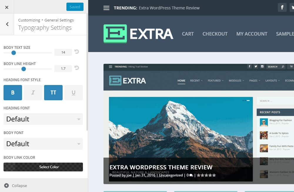Extra WordPress šablona - Customizer / písmo