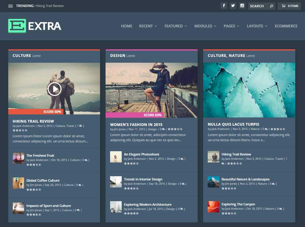 Šablona Extra WordPress Theme - tmavá verze