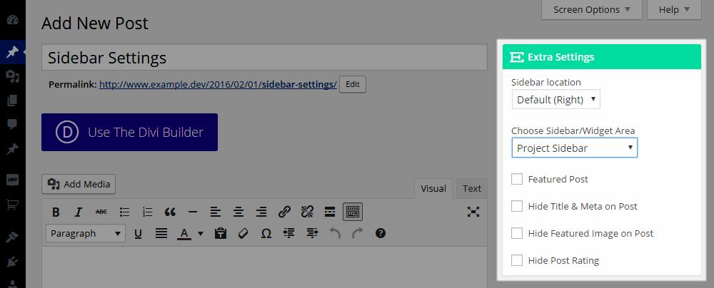 Extra WordPress šablona-nastavení Extra