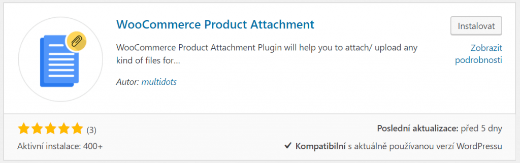 WooCommerce Product Attachment při instalaci