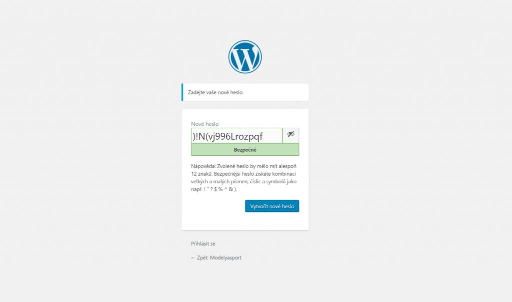 Nastavení nového hesla