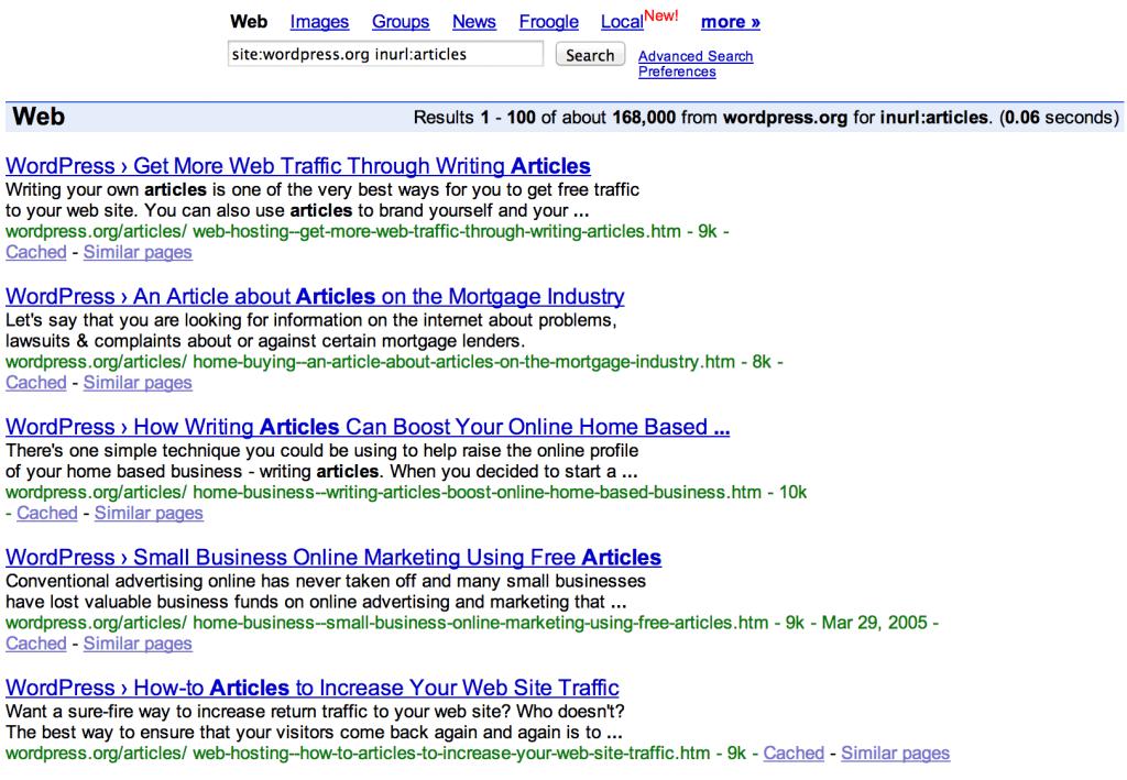 Výsledky vyhledávání v Google, které zobrazují články na WordPress.org.
