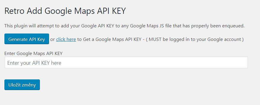Vložení API Key