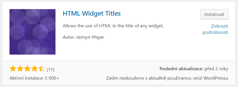 HTML Widget Titles