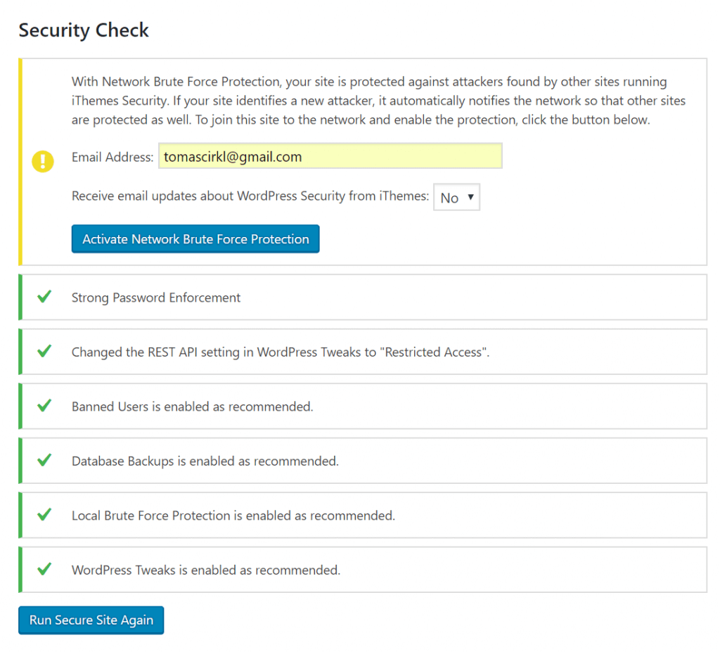 iThemes Security - Security Check Network