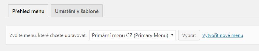 Přehled menu