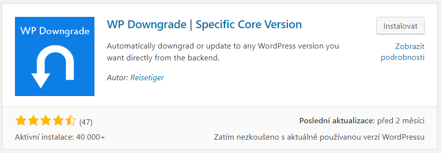 WP Downgrade