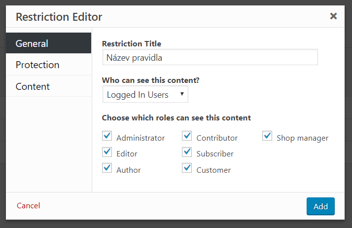 Restriction Editor - General