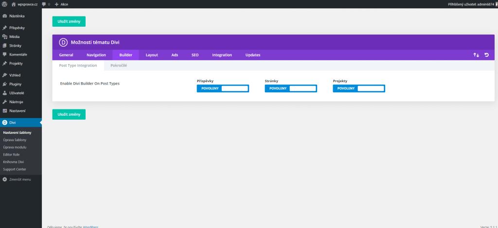 Nastavení Divi šablony - Post Type Integration