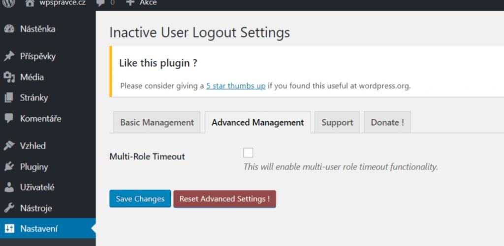 Inactive User Logout - pokročilé