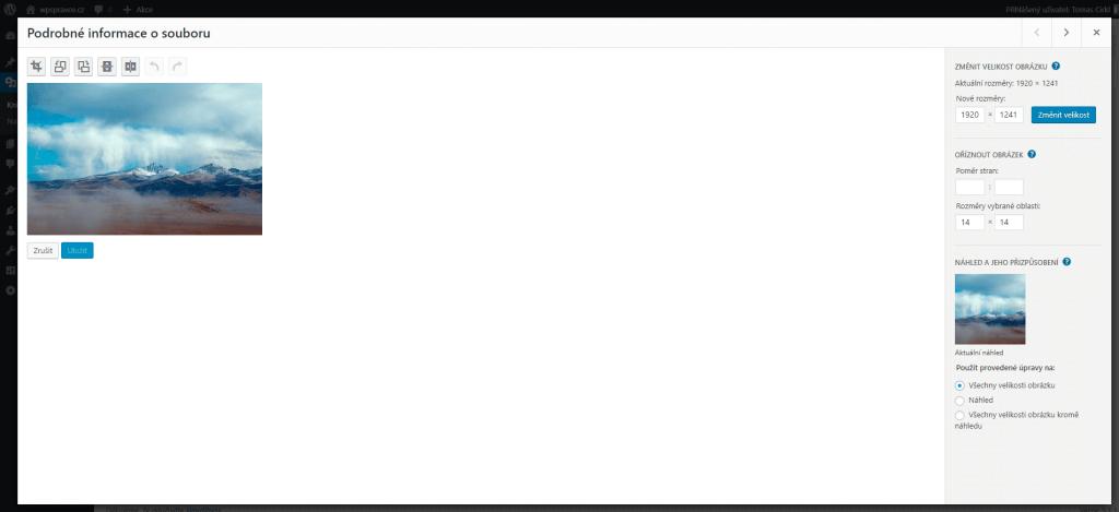 Úprava obrázku ve WordPress