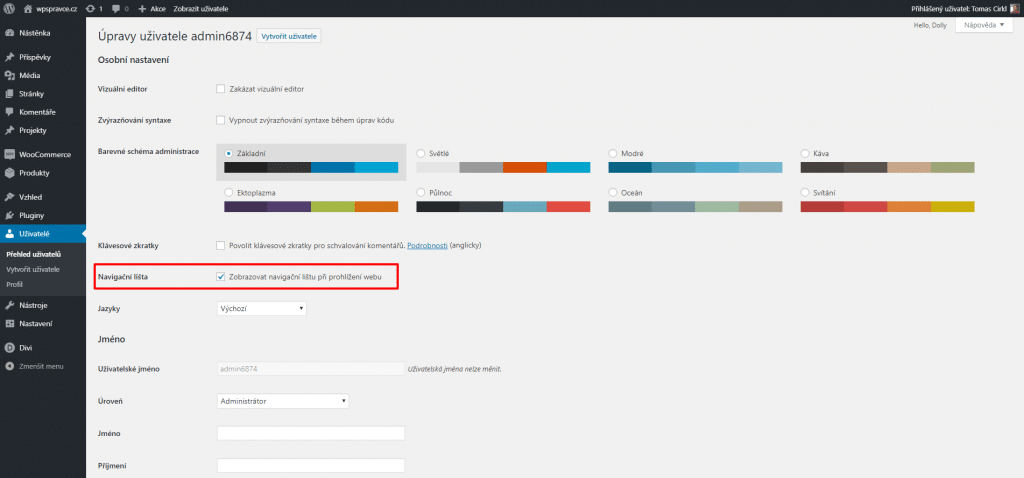 Navigační lišta u uživatele