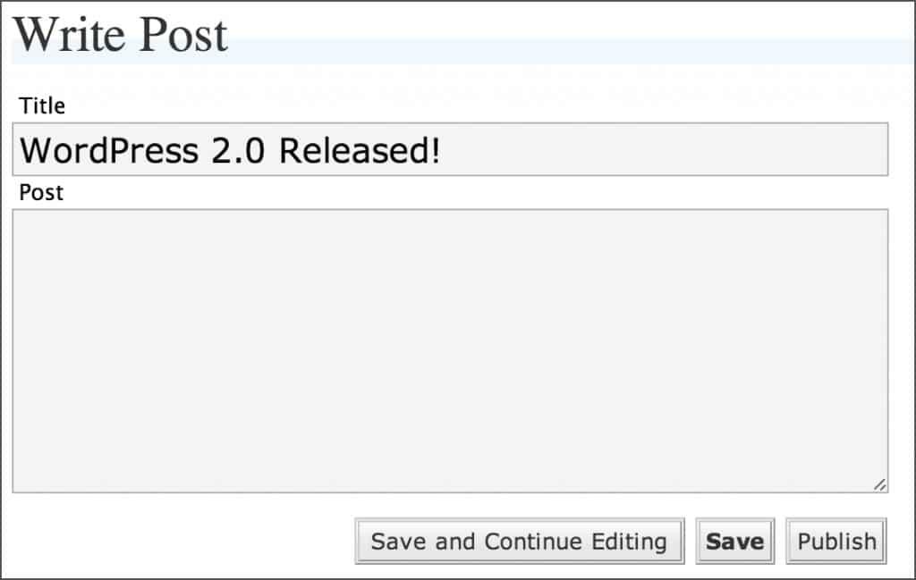 Verze WordPress 2.0