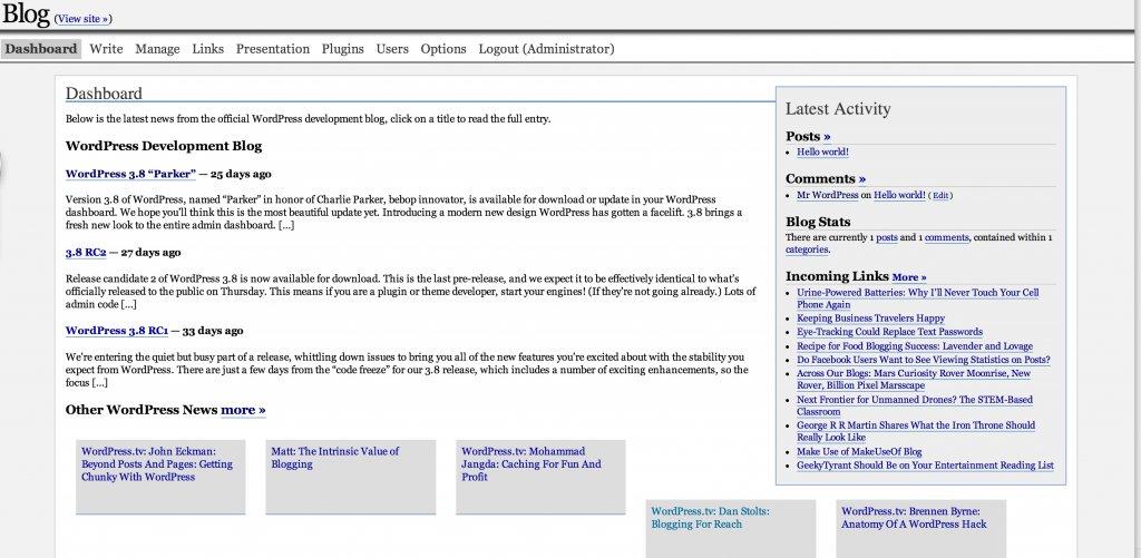 WordPress admin 1.5
