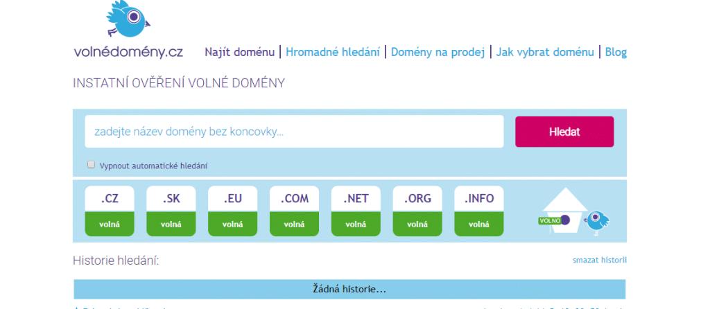 volnedomeny.cz - ověření volné domény