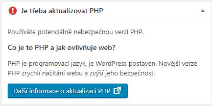 Je třeba aktualizovat PHP