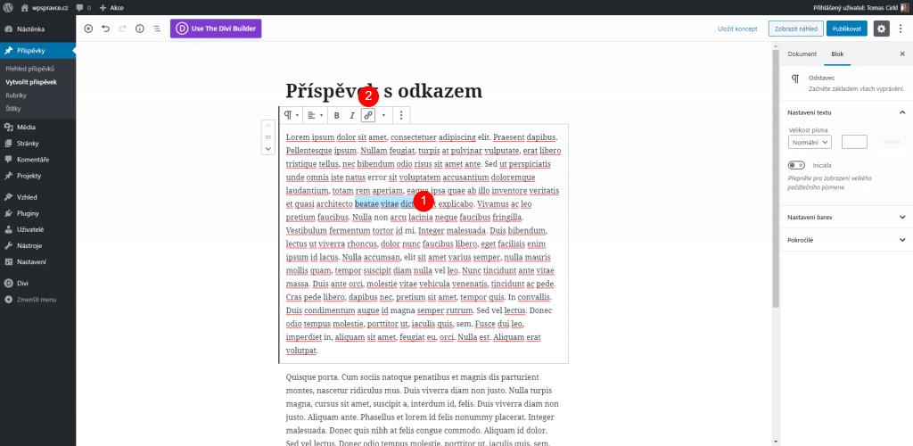 Tvorba odkazu v editoru Gutenberg