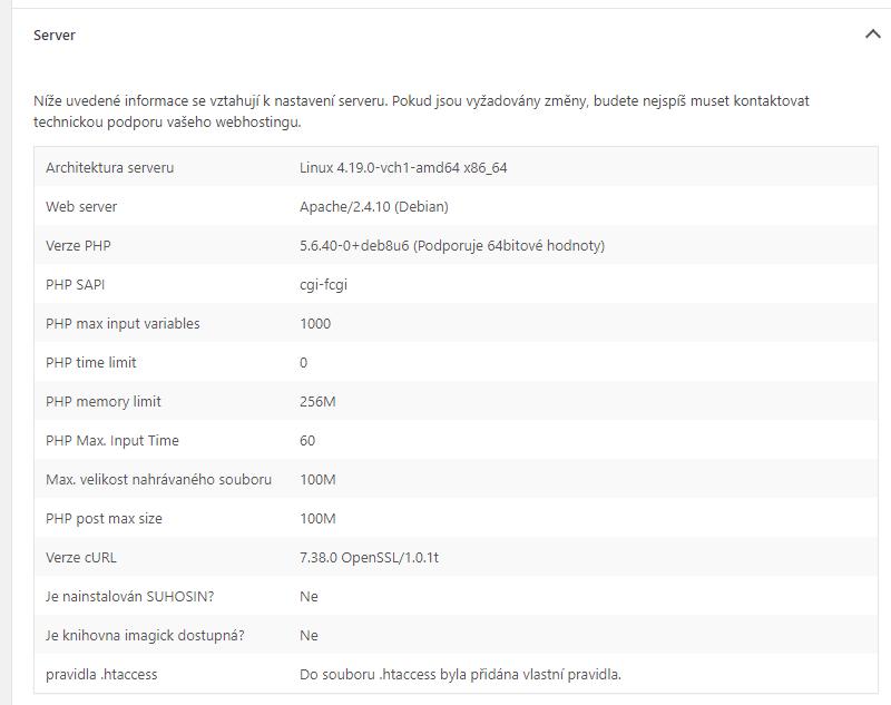 Verze PHP v sekci Stav webu