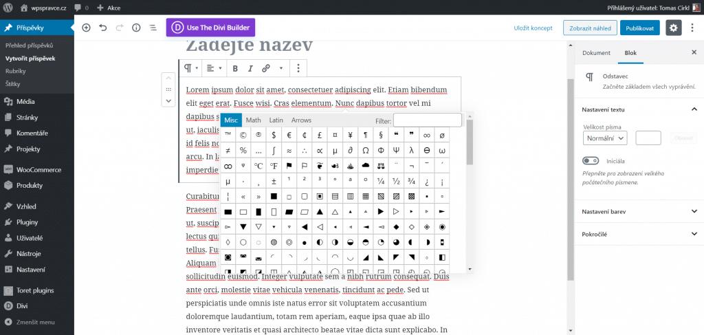 Nabídka speciálních znaků v Gutenberg