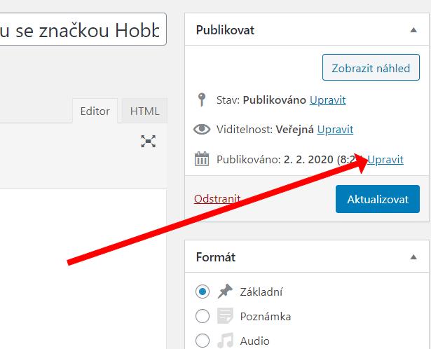 Upravit datum v klasickém editoru