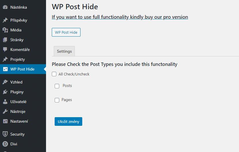 Nastavení WP Post Hide