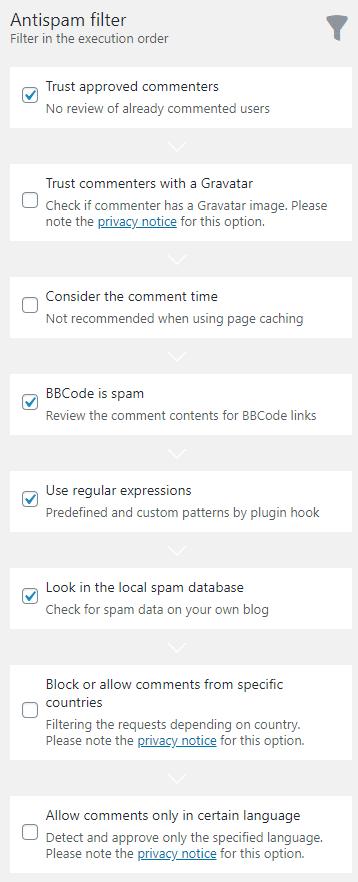 Antispam filter nastavení