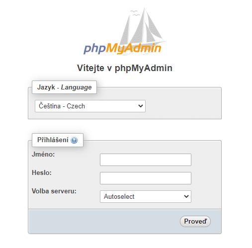phpMyAdmin přihlášení