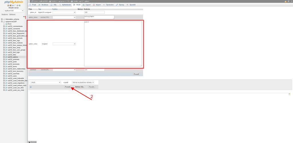 Vypnutí pluginů přes databázi