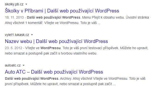 Další web používající WordPress ve výsledcích vyhledávání
