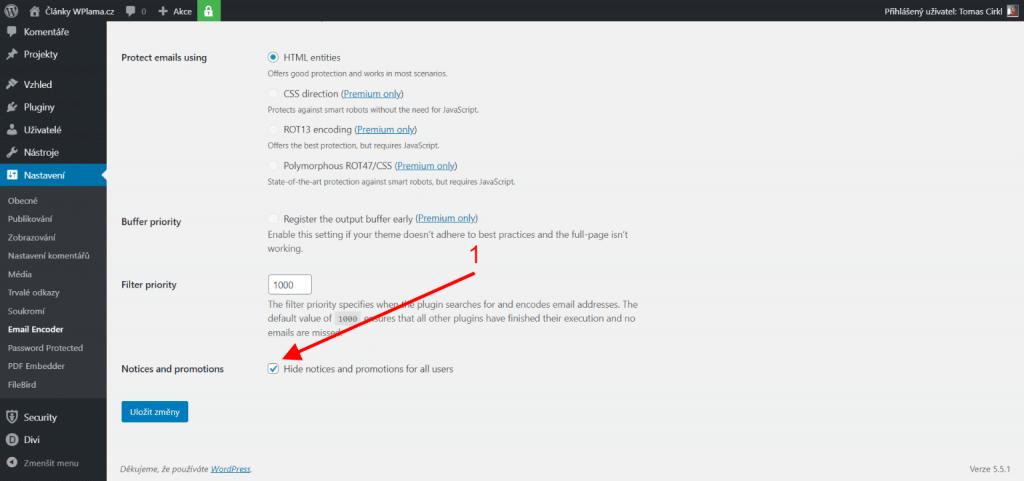 Nastavení pluginu Email Addresss Encoder