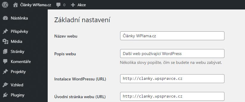 Popis webu v nastavení