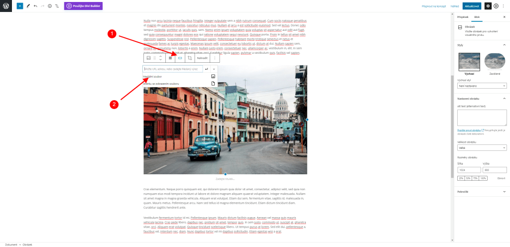 Nastavení odkazu u obrázku v blokovém editoru